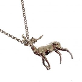 Handmade Sterling Silver Stag Pendant Necklace