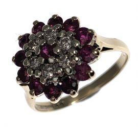 Pre Owned 9ct Gold Ruby And Diamond Cluster Ring