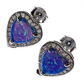 New Sterling Silver Opal Heart Earrings