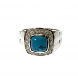 New Silver Turquoise Cabochon & CZ Ring