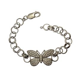 New Silver CZ Butterfly Bracelet