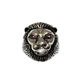 New Sterling Silver Lion Ring With CZ Eyes