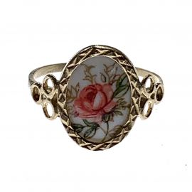 New 9ct Gold Vintage Style Ladies Enamelled Rose Ring