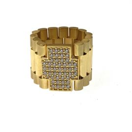 New 9ct Gold CZ Rollie Ring
