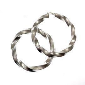 Pre-Loved Large Sterling Silver Twisted Hoop Earrings