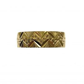 Second Hand 9ct Gold Patterned Wedding Ring