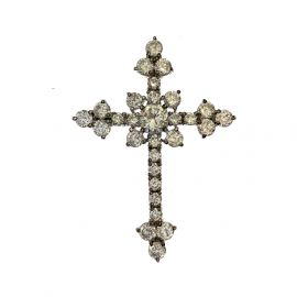 Pre-Owned Sterling Silver CZ Cross Pendant