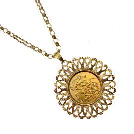 22ct Half Sovereign Coin & 9ct Gold Belcher Chain