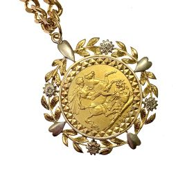 Pre-Loved 22ct Gold Full Sovereign Pendant with 9ct Gold Chain