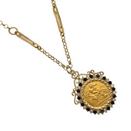 22ct Gold Half Sovereign Coin & Fancy Chain