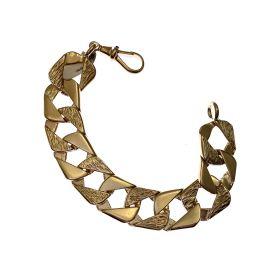 Heavy 9ct Gold Plain & Patterned Child's Curb Bracelet