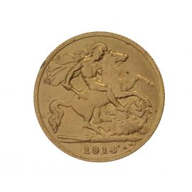 1914 22ct Gold Half Sovereign Coin