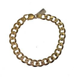 Second Hand 9ct Gold Plain & Patterned Curb Bracelet