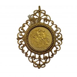 Pre-Owned 22ct Gold Half Sovereign Coin in 9ct Gold Mount