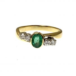 Second Hand 18ct Gold Emerald & Diamond Ladies Ring