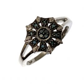 New Sterling Silver Coloured Diamond Ring