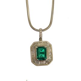 18ct White Gold Diamond & Emerald Ladies Necklace