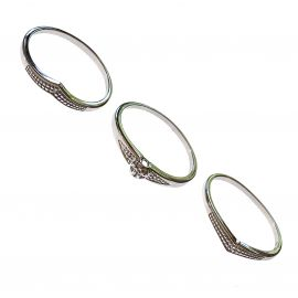 New Set of 3 Sterling Silver Diamond Rings