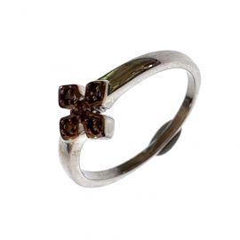 New Sterling Silver Chocolate Diamond Ring