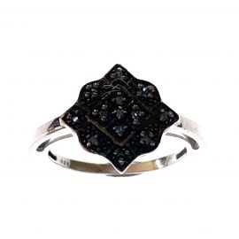 New Sterling Silver Blue Diamond Ring