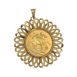 Pre-Owned 22ct Gold Full Sovereign in 9ct Gold Mount