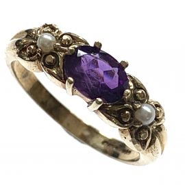 New 9ct Gold Antique Style Amethyst & Pearl Ring