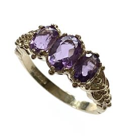 New 9ct Gold Amethyst Trilogy Ring
