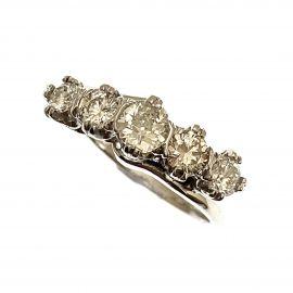 18ct White Gold Diamond 5 Stone Ladies Ring