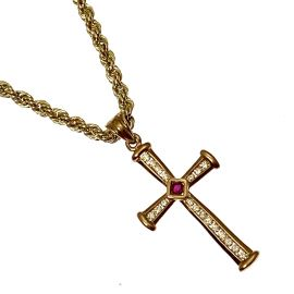 New 9ct Gold CZ Cross & Rope Chain