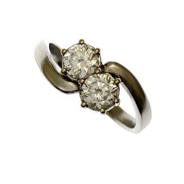 14kt White Gold CZ  Twin Stone Ladies Ring