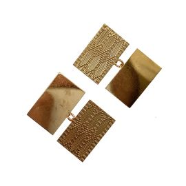 9ct Gold Plain & Patterned Cuff Links