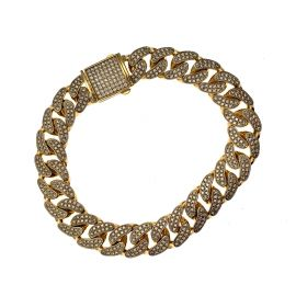 New 9ct Gold Miami Iced Out Curb Bracelet
