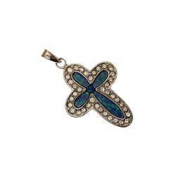 New Sterling Silver Opal & CZ Cross