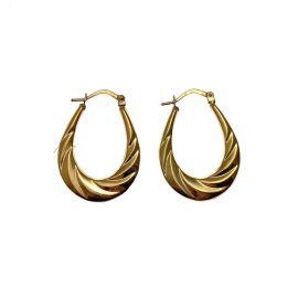 New 9ct Gold Oval Patterned Hoop Earrings
