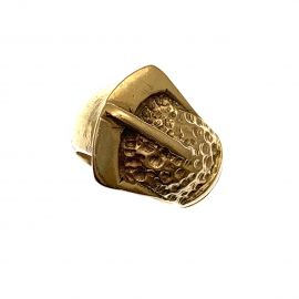Solid Heavy 9ct Gold Buckle Ring