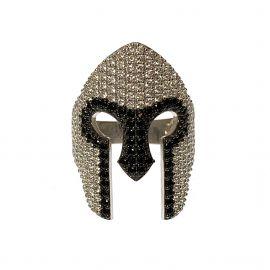 New Sterling Silver CZ Spartan Helmet Ring