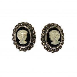 New Silver Vintage Style Cameo Earrings