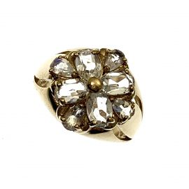 9ct Gold Large CZ Flower Ring