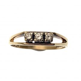 Pre-owned 9ct Gold CZ Trilogy Ring