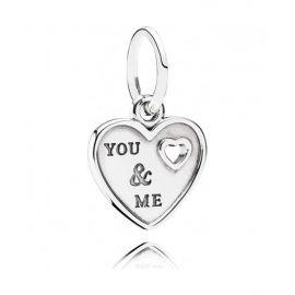 925 ALE 'You & me' Heart Pandora Charm