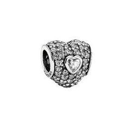 Pre-Owned 925 ALE Pandora CZ Heart Charm
