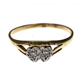 Pre-Loved 18ct Gold Double Heart Diamond Ring