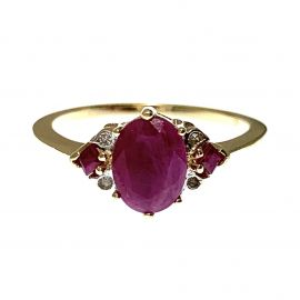 Pre-Loved 9ct Gold Ruby & Diamond Ring
