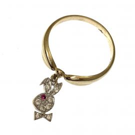 Brand New 9ct Gold Playboy Style CZ Ring
