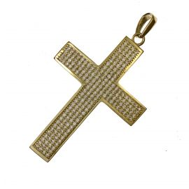 New 9ct Gold CZ Cross Pendant