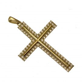 New 9ct Gold Stone Set Cross