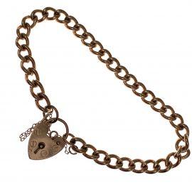 Pre-Loved 9ct Rose Gold Heart Padlock Charm Bracelet