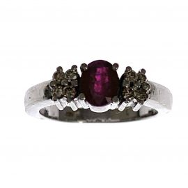 Pre-Loved 18ct White Gold Ruby Ladies Dress Ring
