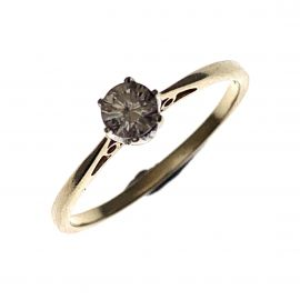 Pre-Owned 9ct Gold 25pt Diamond Solitaire Ring