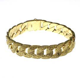 New 9ct Gold Patterned Curb Bracelet